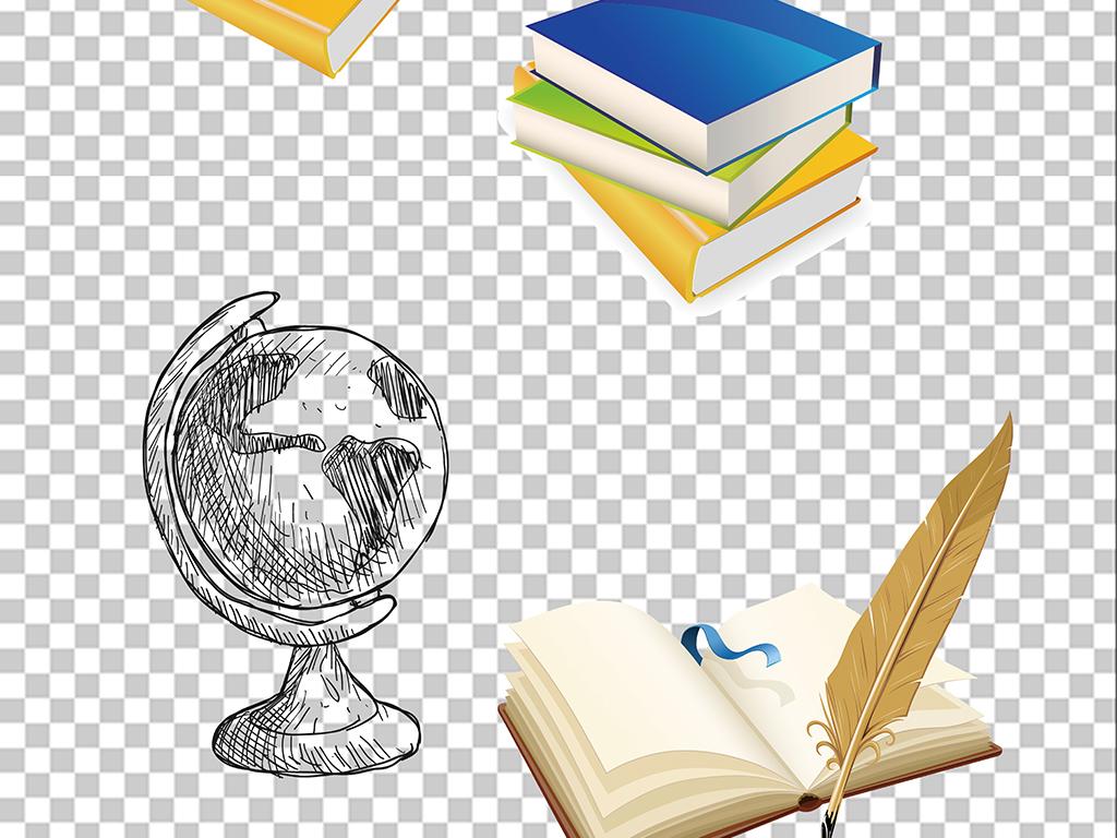 素描手绘卡通书籍书本学习png素材下载,作品模板源文件可以编辑替换