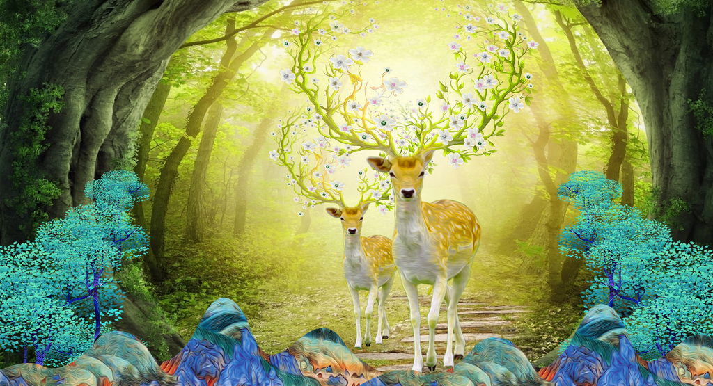 梦幻森林麋鹿玄关背景墙酒店北欧展览画