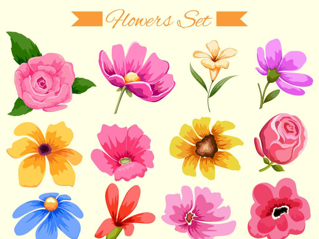 手绘花朵插画矢量ai格式牡丹茉莉菊花玫瑰
