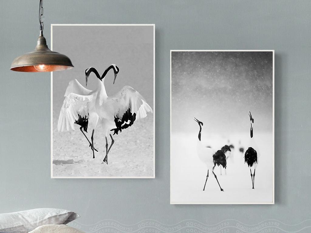北欧风格黑白风景丹顶鹤无框画装饰画