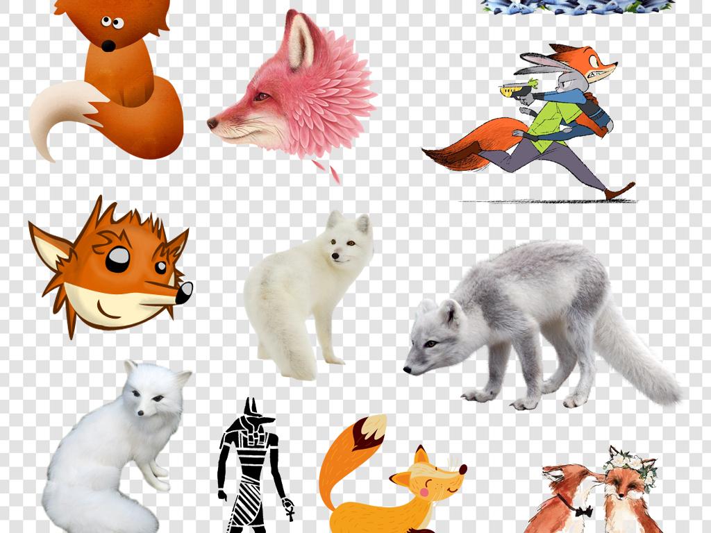 可爱卡通手绘狐狸png免扣素材