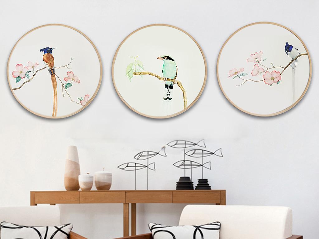 新中式装饰画简约工笔花鸟圆形无框画