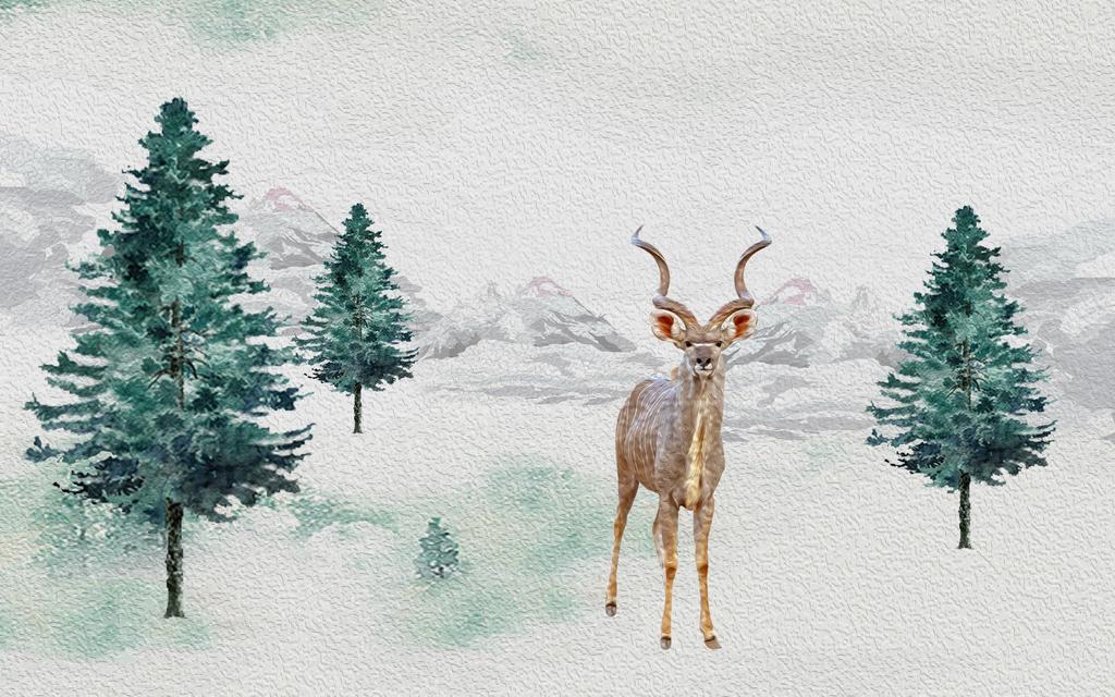 客厅背景墙欧式电视背景手绘麋鹿背景油画