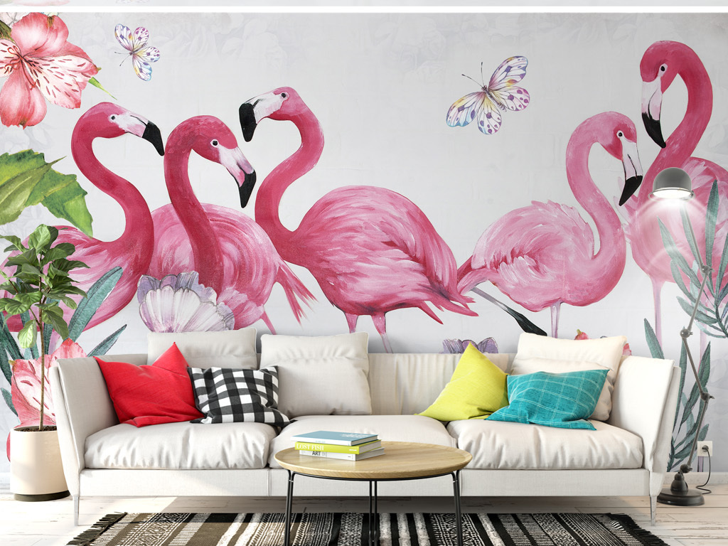 北欧现代手绘火烈鸟背景墙清新叶子
