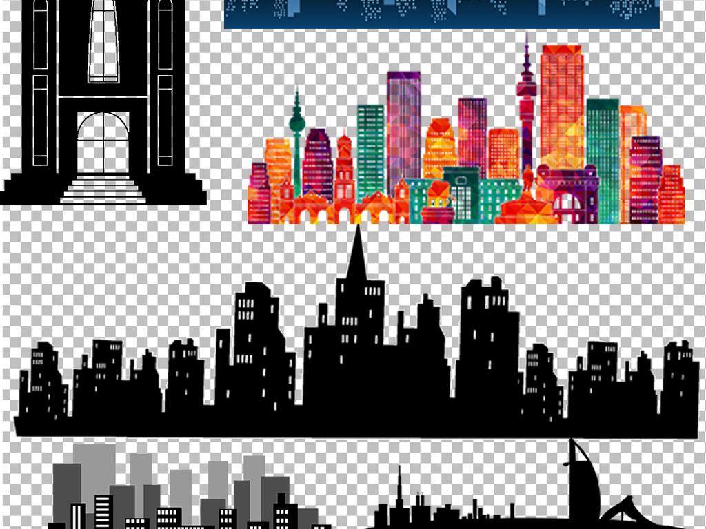 城市都市建筑建筑速写房子剪影图片素材