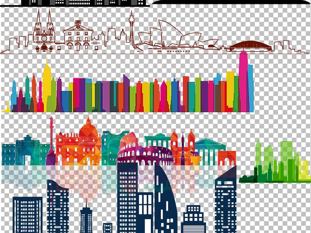 卡通建筑建筑设计手绘建筑欧美建筑大厦大楼上海楼宇写字楼建筑速