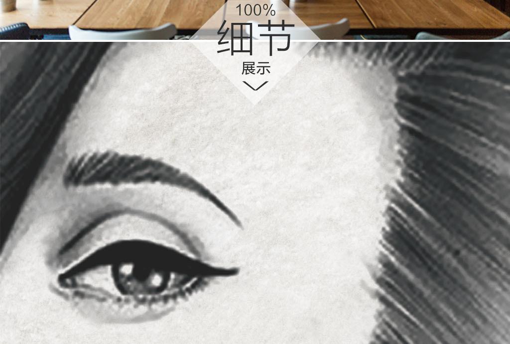 纹绣砖墙手绘美女美甲美甲店美甲纹绣韩式背景永久美甲背景美甲店背景