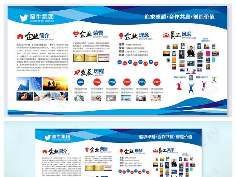蓝色企业文化墙形象墙简介通用背景展板