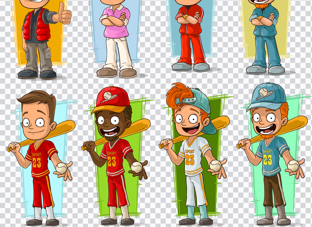 eps+png扁平化卡通运动员,足球小子等设计素材