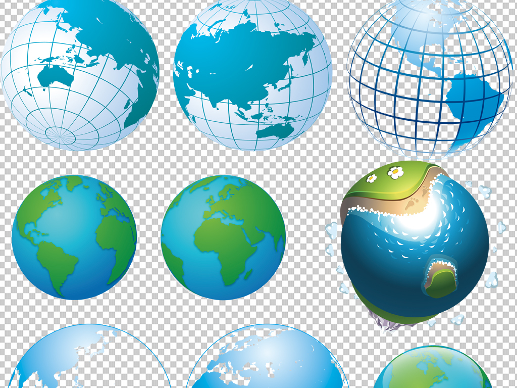 手绘矢量图免抠图海报展板高清高清晰地球素材免抠素材地球素材素材地