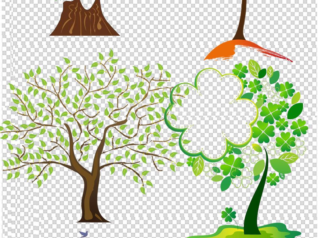 35创意手绘卡通树木png