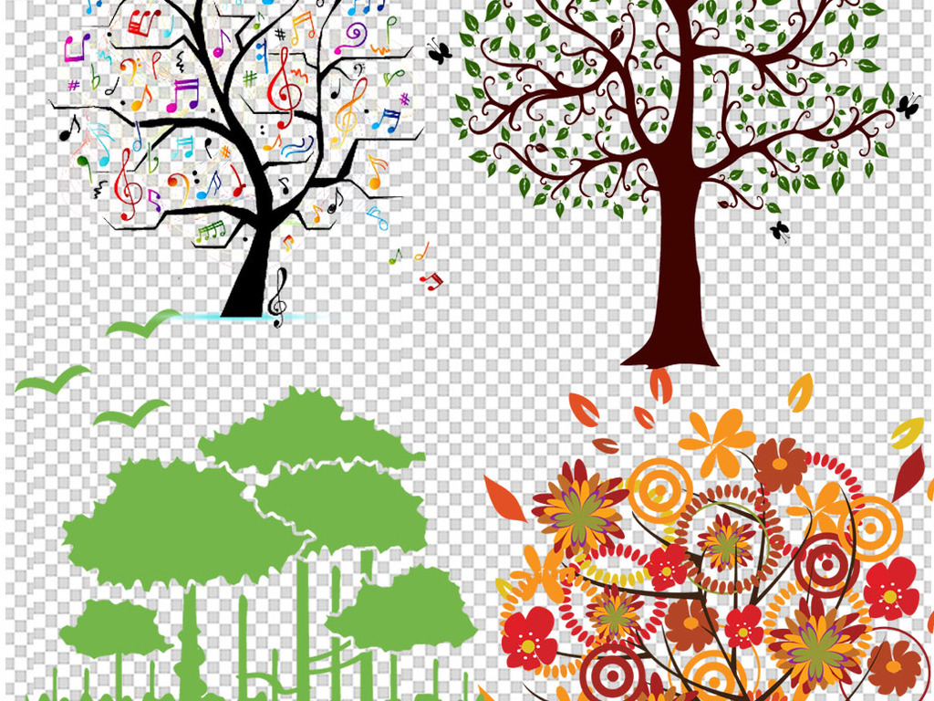 免抠元素 自然素材 树叶 > 35创意手绘卡通树木png  素材图片参数