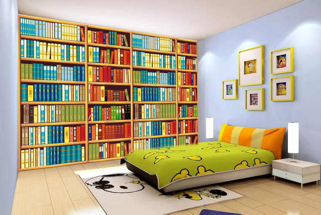 卡通书房书柜书架3d背景墙装饰壁画