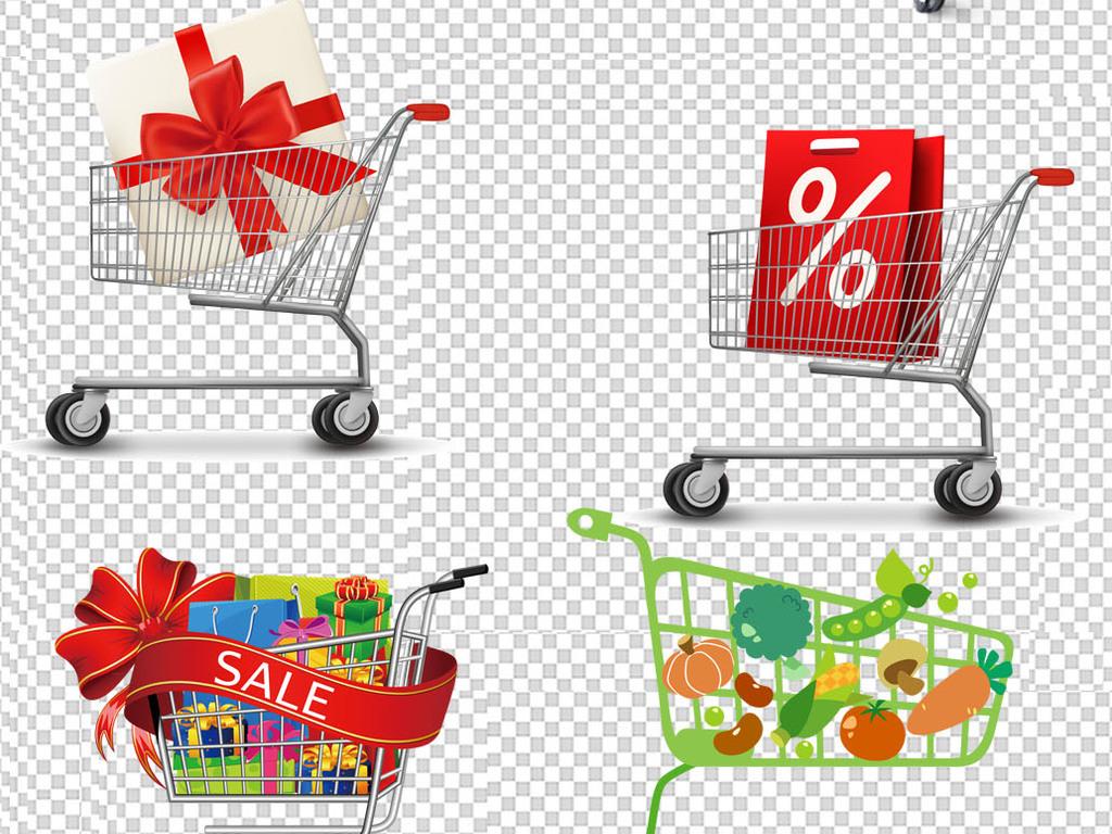 超市商场电商促销购物车卡通素材下载