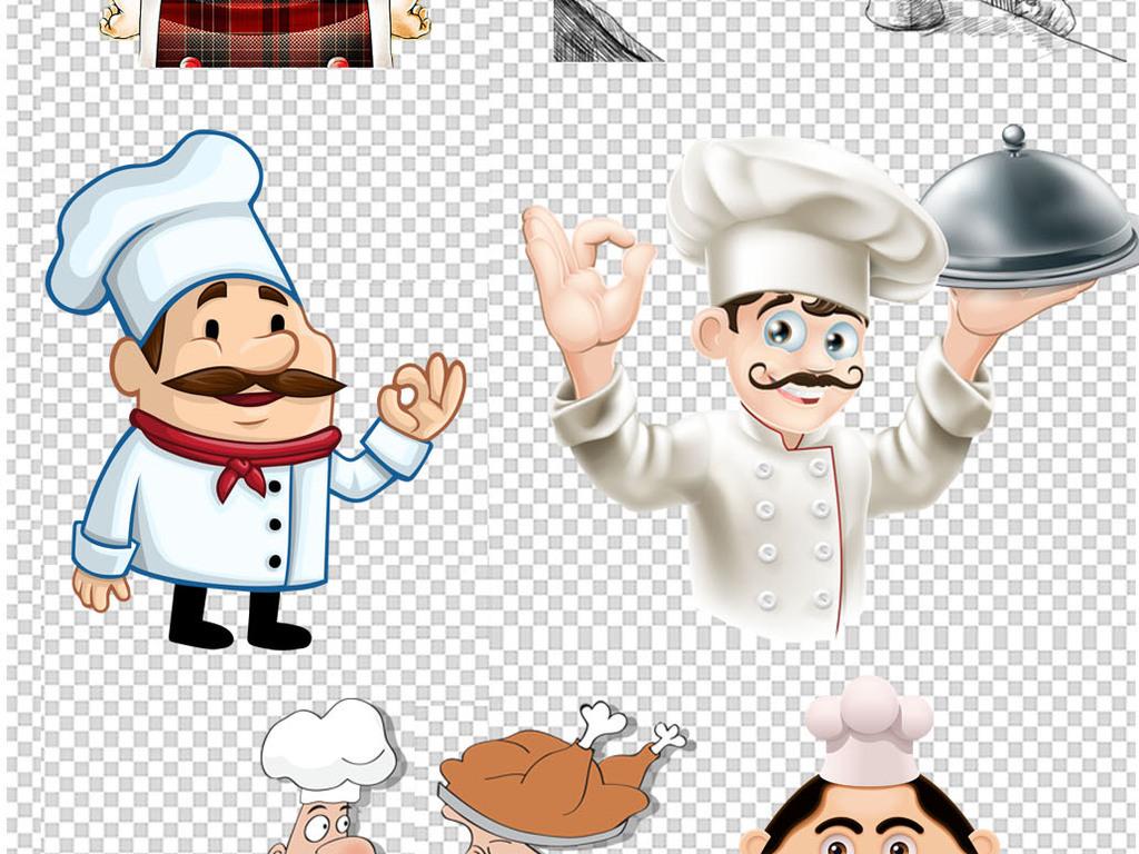 创意卡通手绘厨师人物吃货炒菜png素材