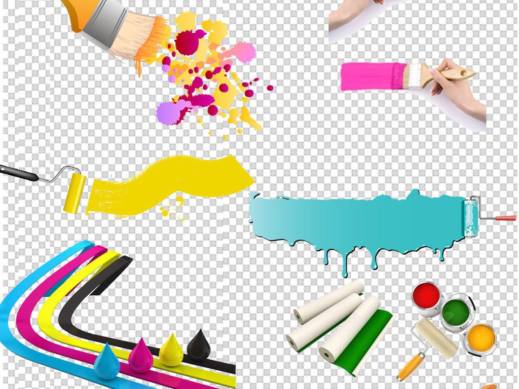 高清手绘彩色油漆刷子png免扣素材