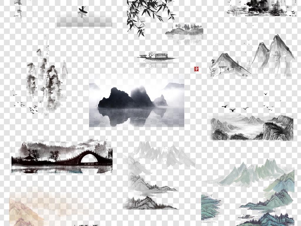 水墨山水中国风元素png海报素材图片