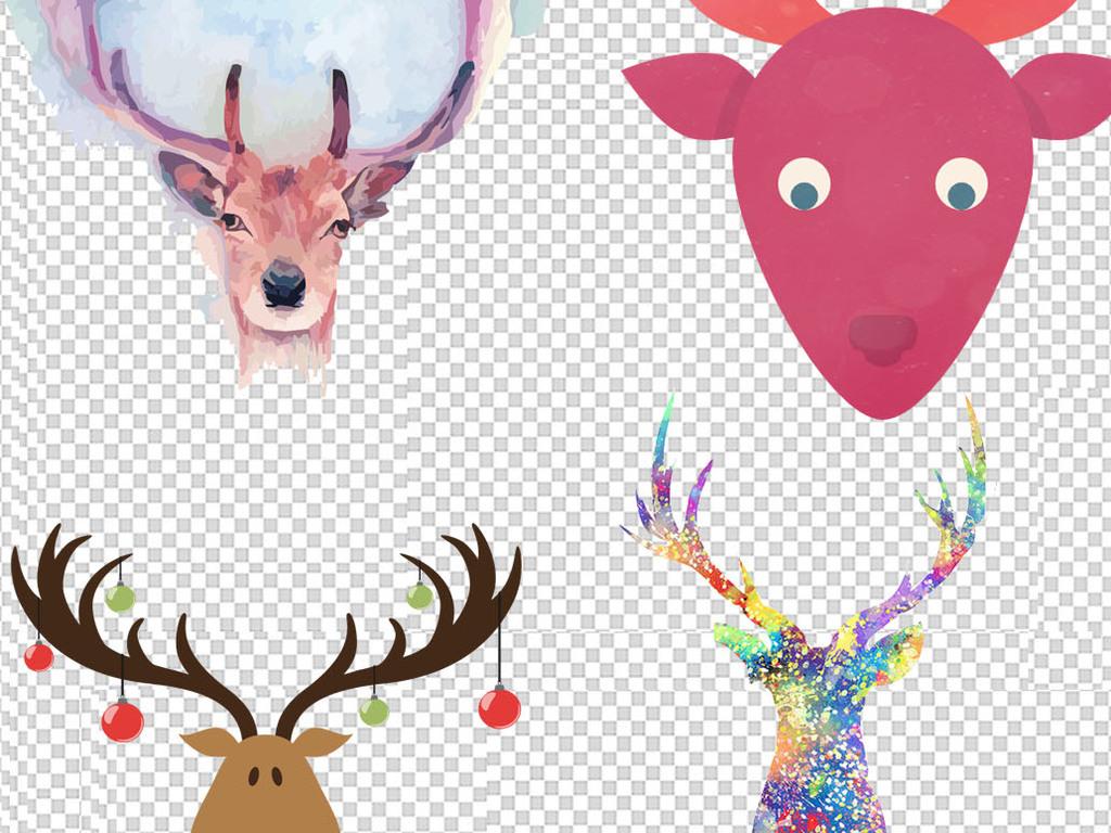 手绘水彩鹿头麋鹿小鹿png扣素材