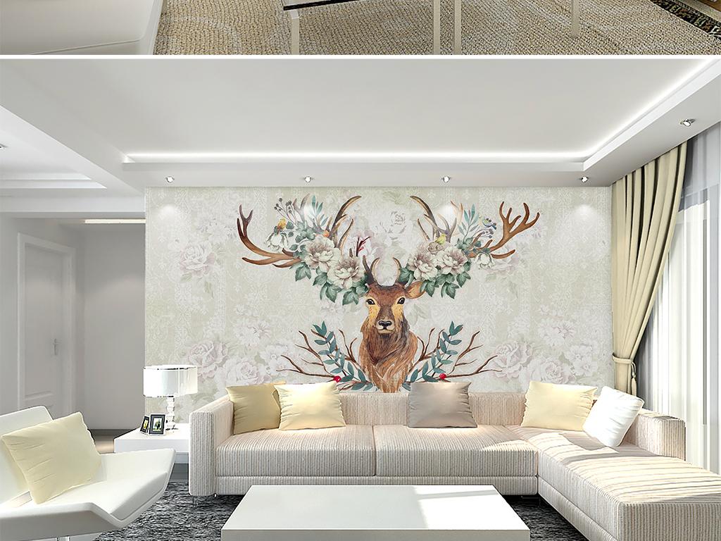 电视背景墙 美式背景墙 > 小清新田园手绘花卉鹿头卧室沙发电视背景墙图片