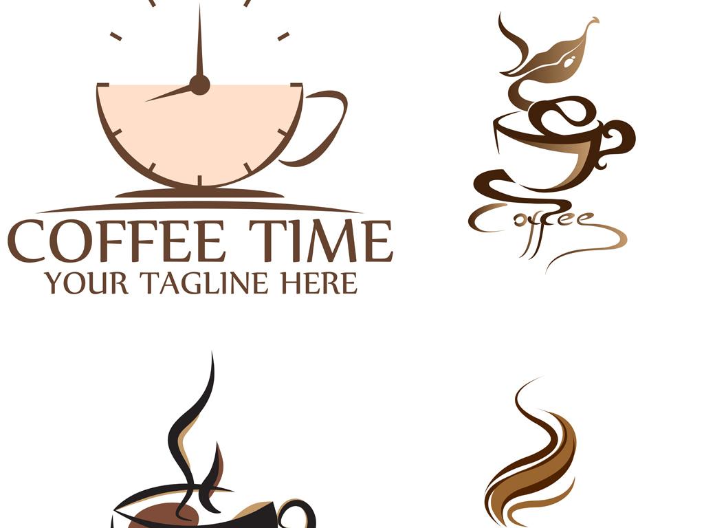 创意手绘咖啡,咖啡杯,标志标签设计矢量模板