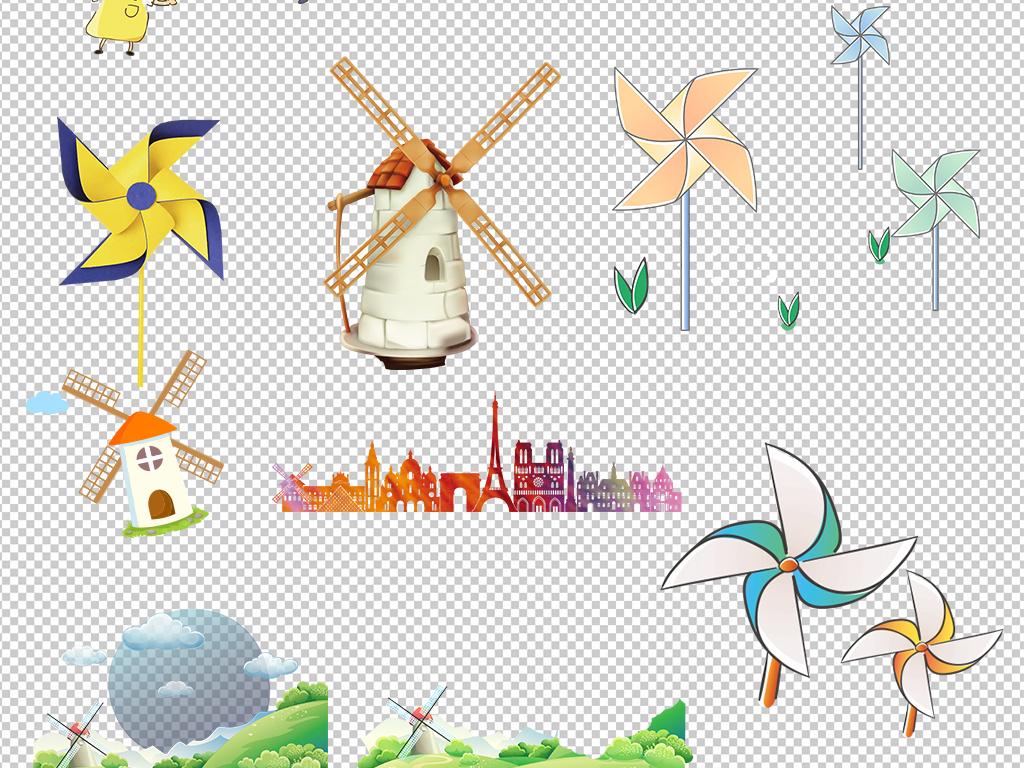 环保素材风车风车ppt素材下载手绘风车电力风车夏日夏天