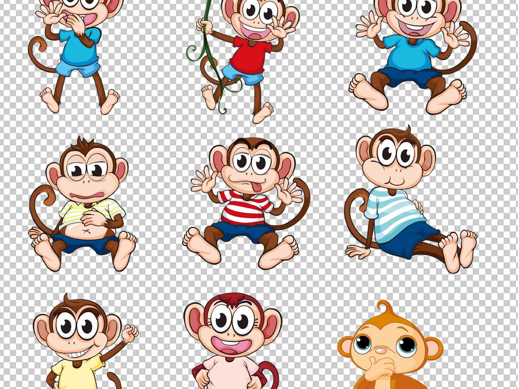 卡通猴子手绘猴子猩猩                                  可爱