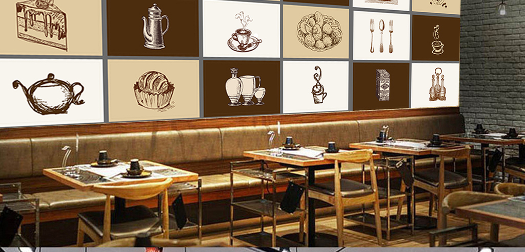 欧式时尚西餐厅咖啡厅手绘餐具元素背景墙
