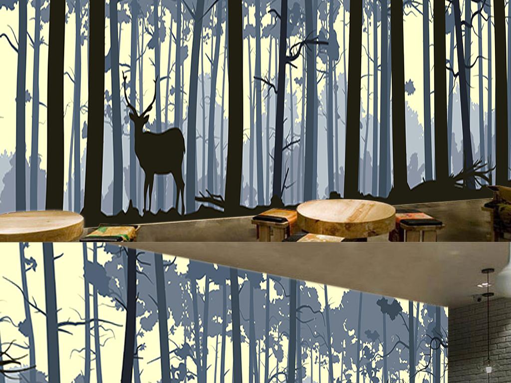 北欧简洁风格手绘森林树干麋鹿矢量背景墙图