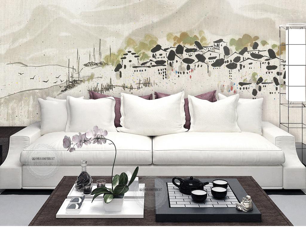 新中式手绘沙发背景墙山水