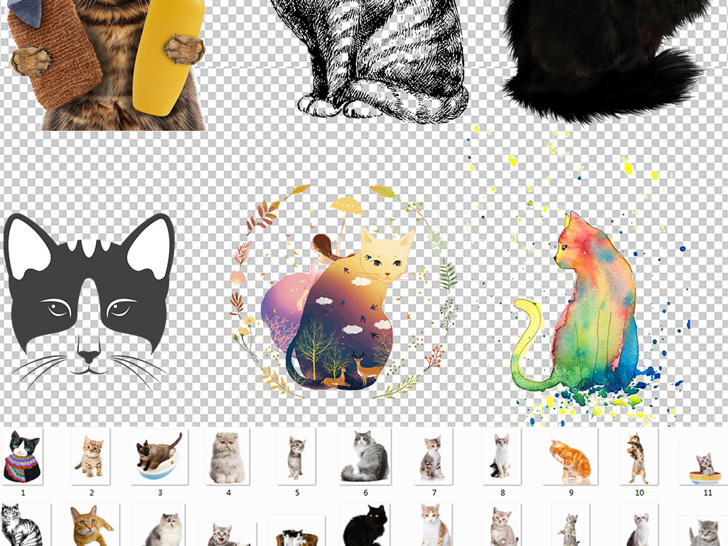 设计作品简介: 多款猫咪小猫宠物动物png免扣素材合集 矢量图, rgb
