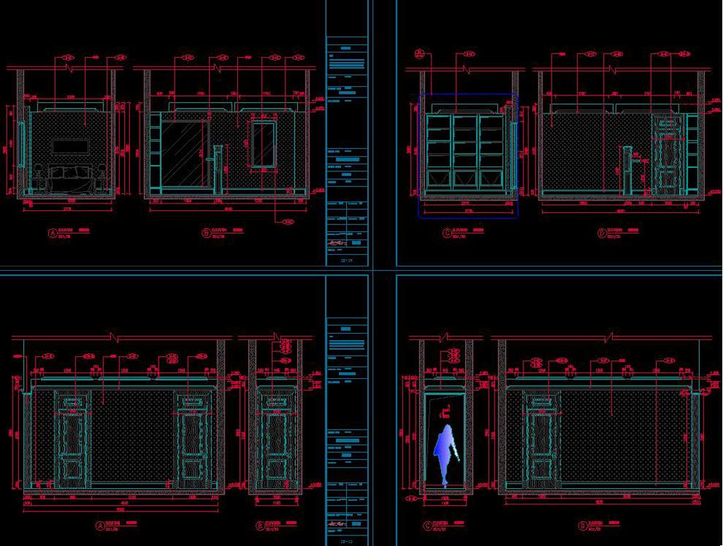 全套简欧家装cad施工图效果图平面设计图下载(图片17.