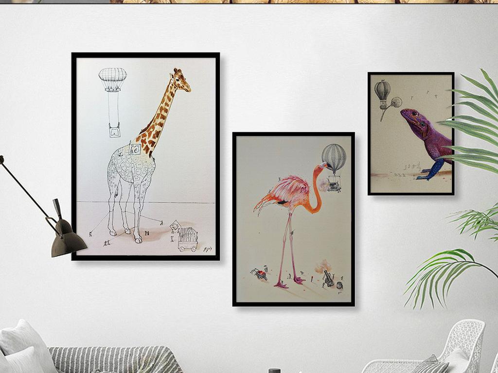 北欧水彩手绘动物火烈鸟装饰画