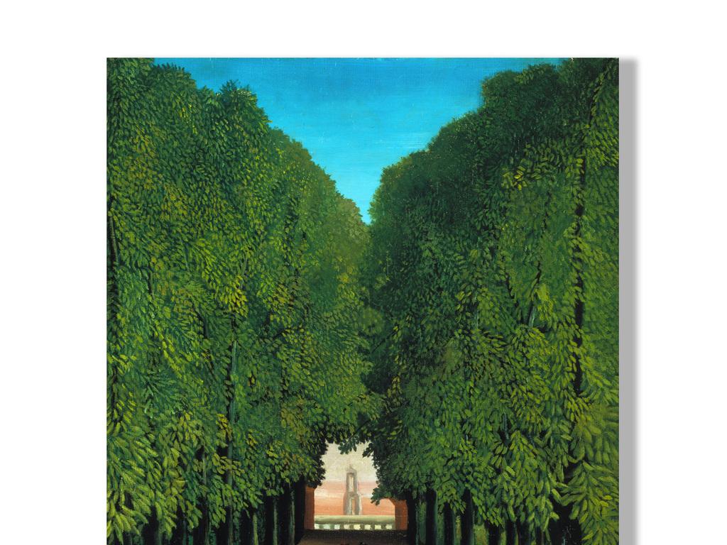高清森林手绘油画立体背景装饰画