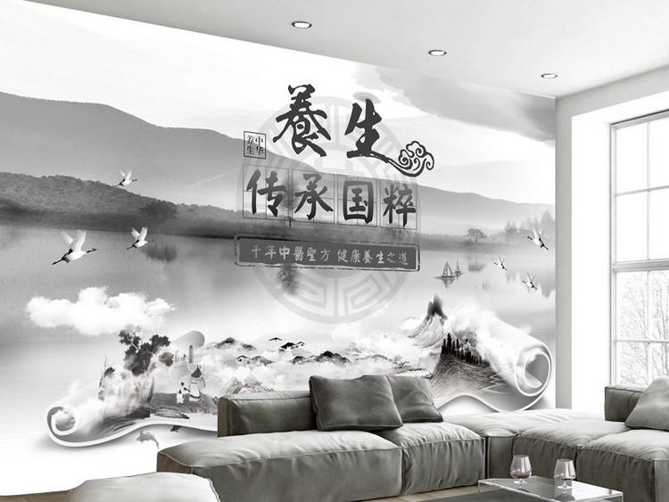 中式山水中医养生背景墙装饰画