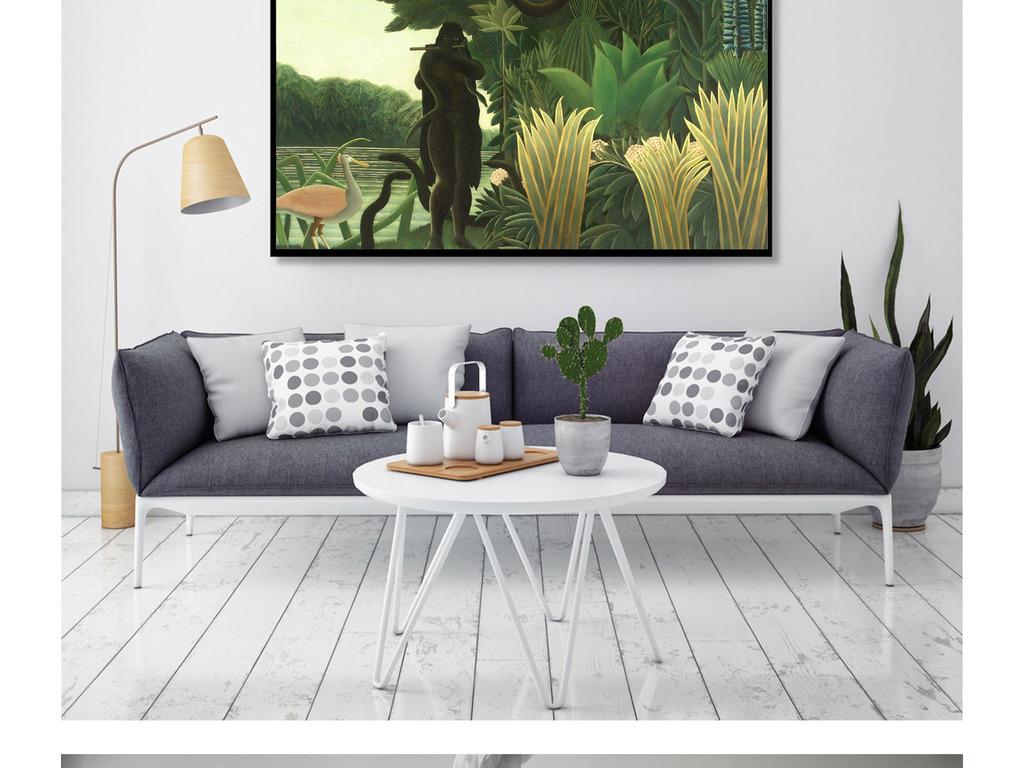 高清丛林手绘油画立体装饰画