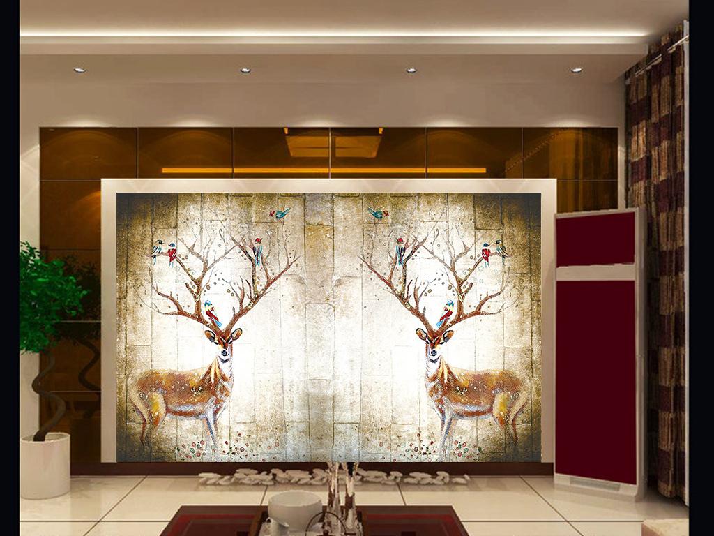 复古北欧风格彩绘麋鹿电视背景墙