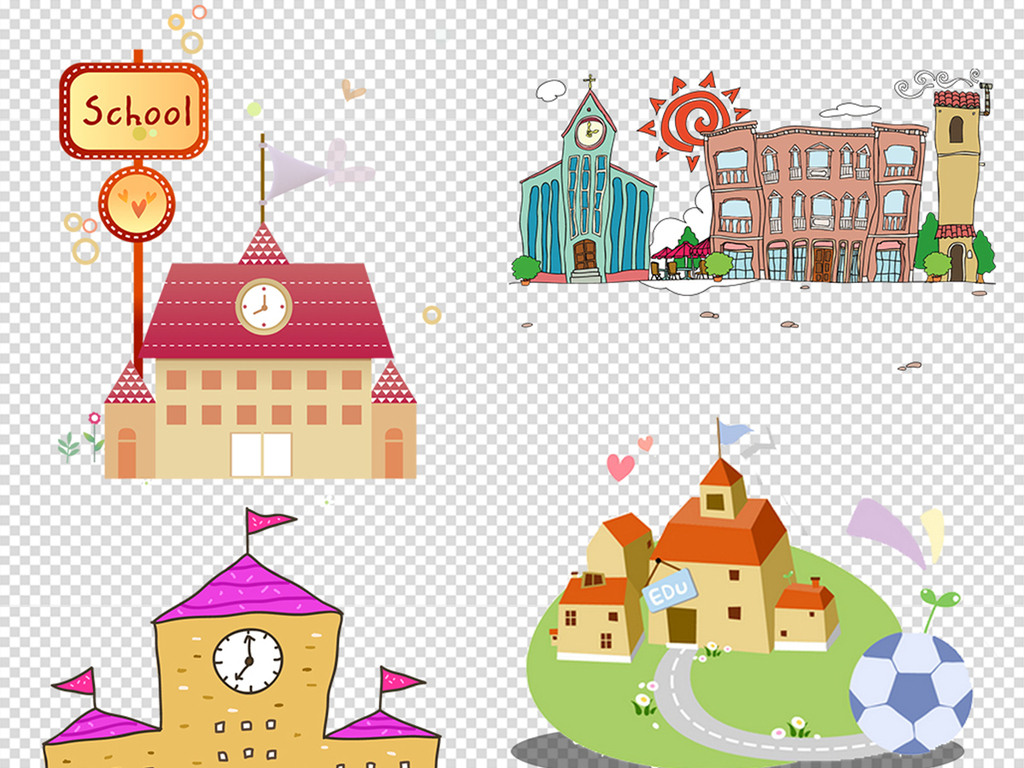 儿童素材卡通素材学校素材卡通学校学校卡通素材学校儿童学校手绘背景