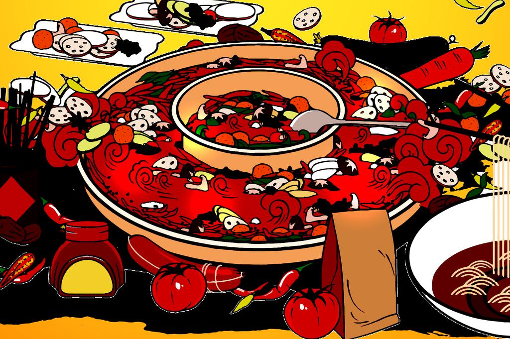 创意手绘私房麻辣火锅餐饮美食海报矢量展板