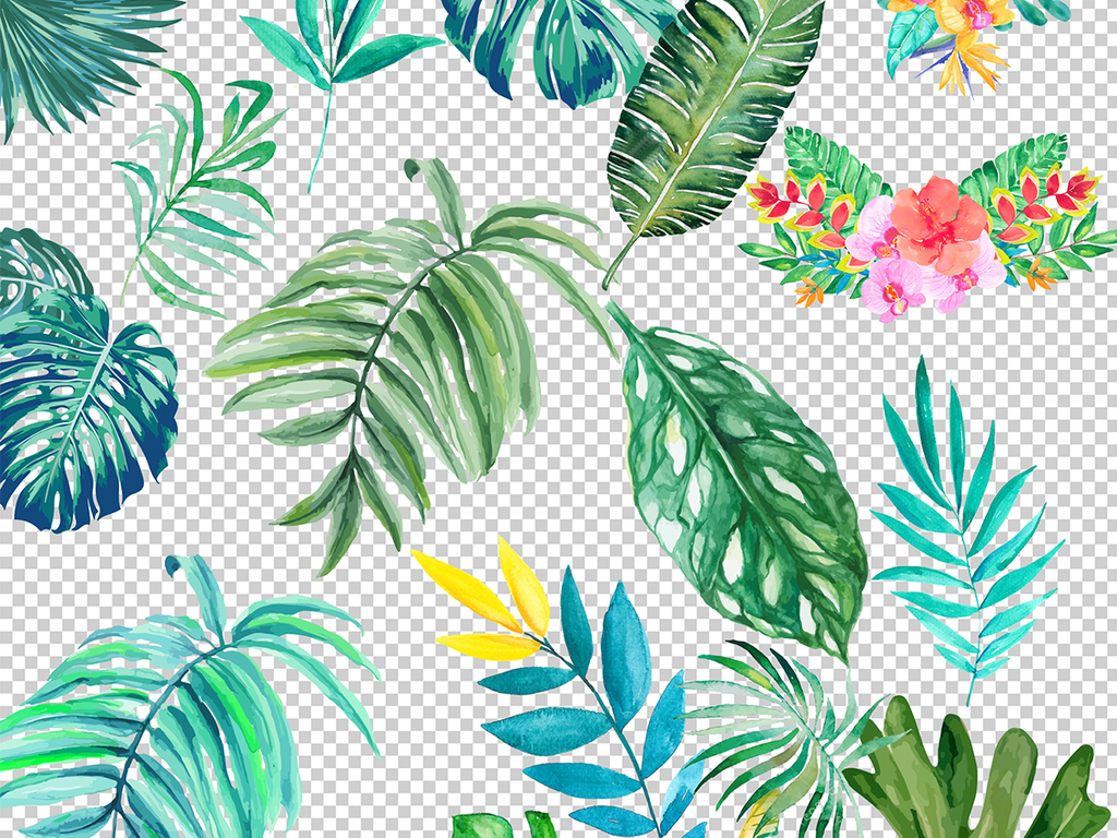 水彩画花卉北欧树叶热带热带叶子花草油画挂画海报设计高清插画小清新