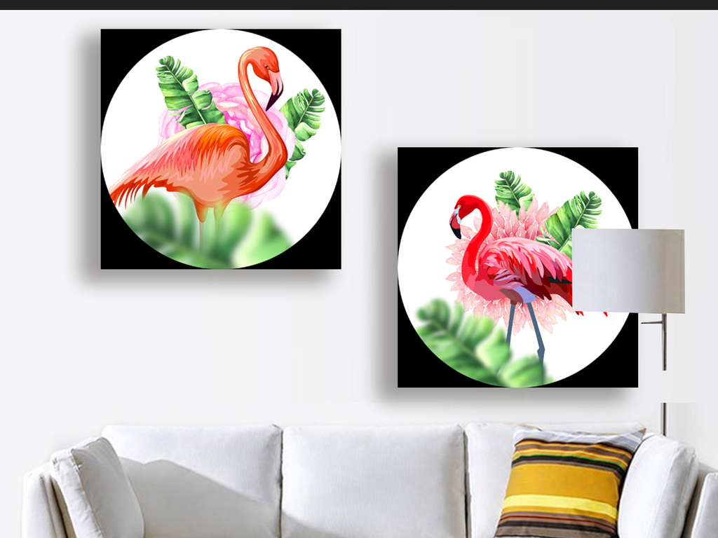 时尚唯美手绘水彩热带绿叶火烈鸟北欧装饰画