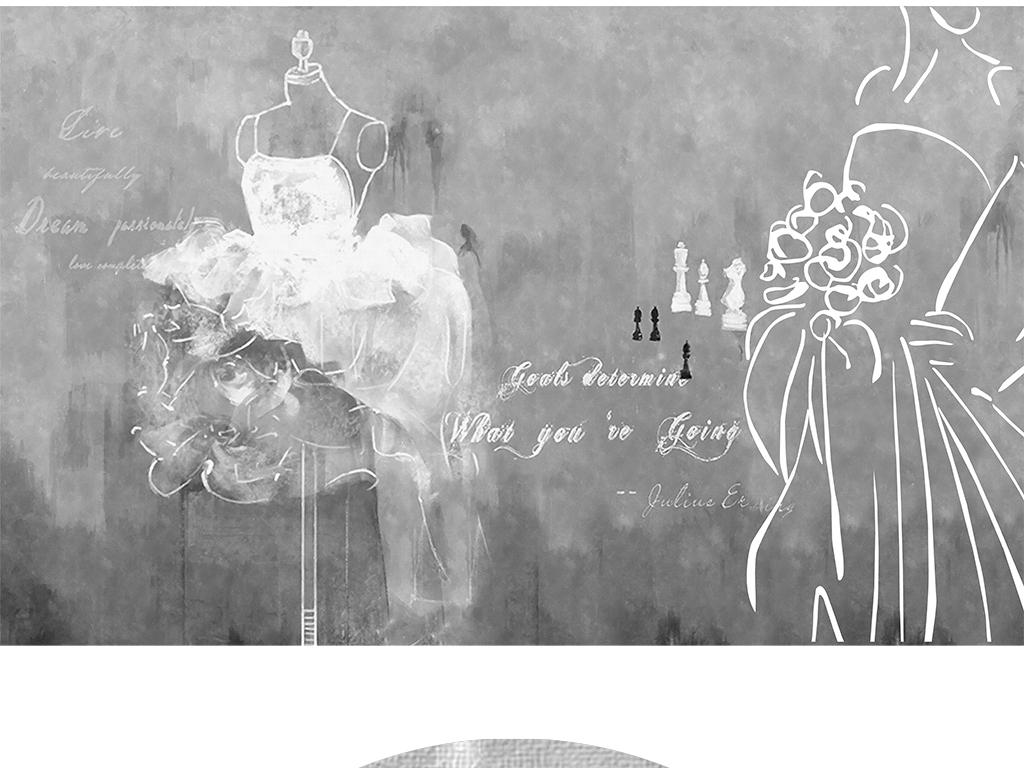 时尚复古工业风水泥墙油画手绘婚纱背景墙4图片