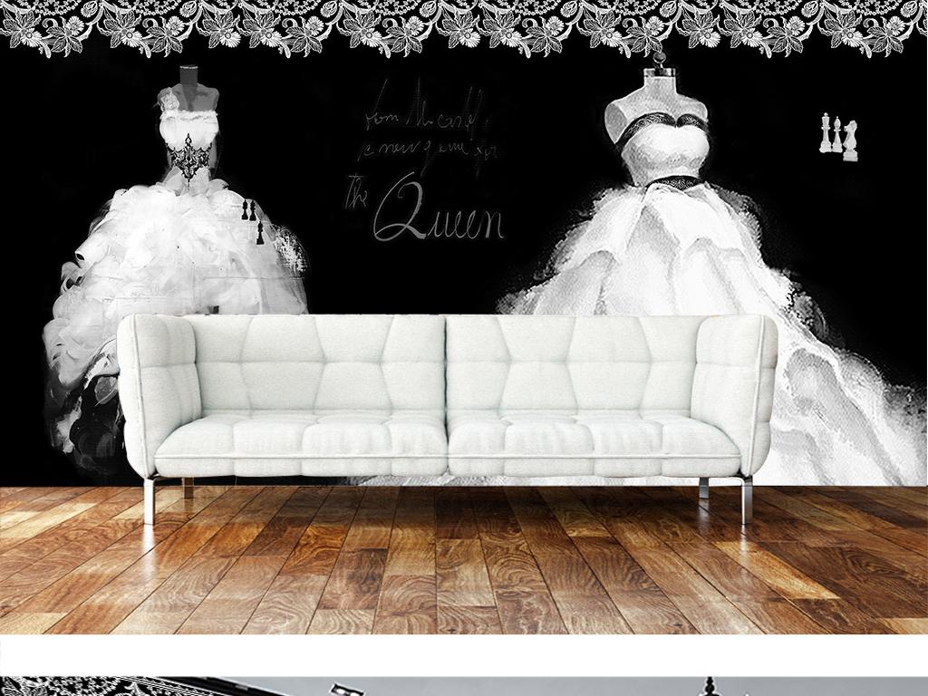 时尚复古蕾丝黑白油画手绘婚纱大型背景墙3