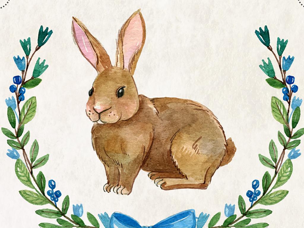 手绘水彩效果动物抱枕图案