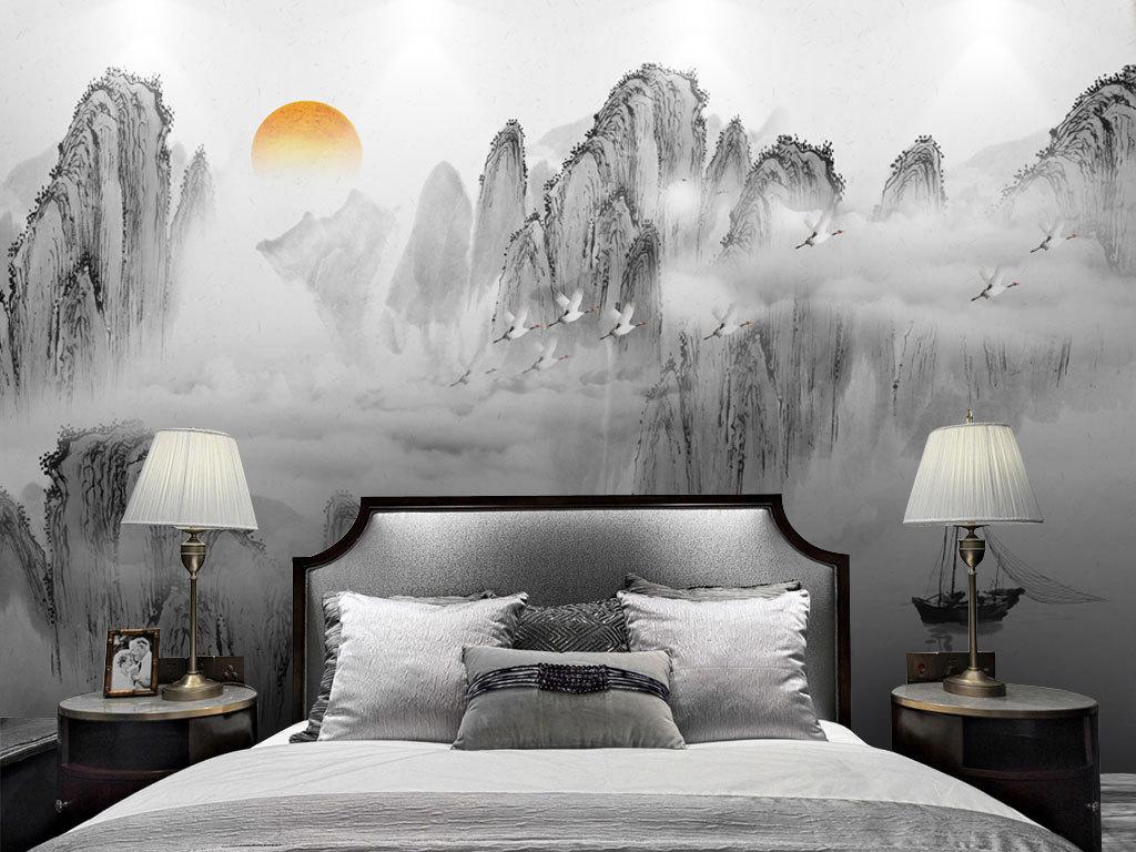 现代简约水墨意境唯美山水画新中式背景墙