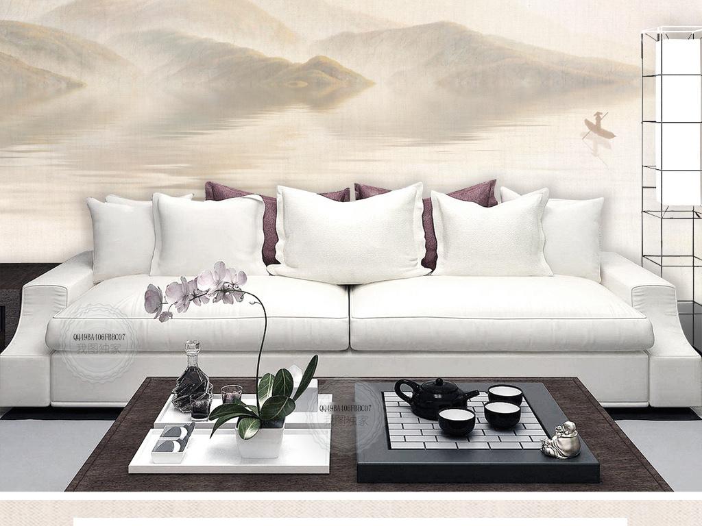 新中式简约手绘水墨山水背景墙沙发倒影