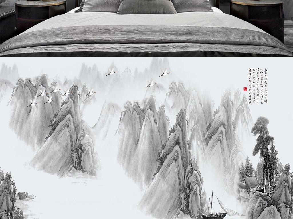 新中式现代简约大气水墨意境山水画背景墙