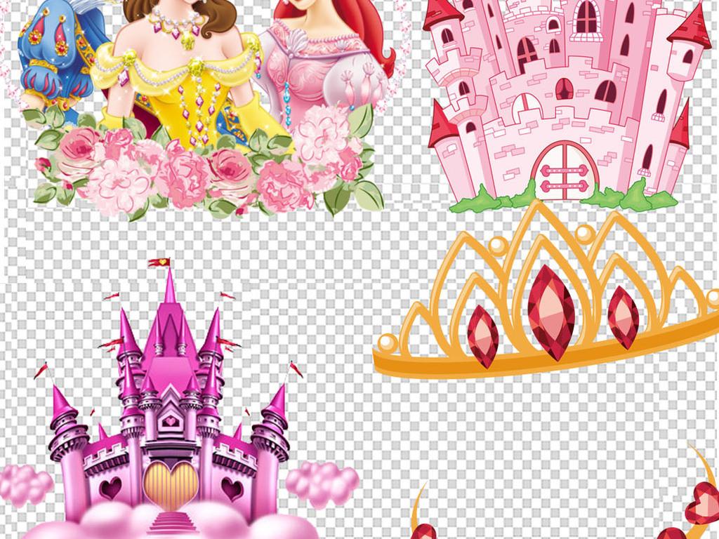 海洋女孩美人鱼公主卡通背景美人鱼唯美背景城堡皇冠卡通城堡长发公主