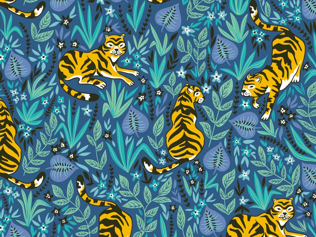 动物老虎植物花卉图案背景