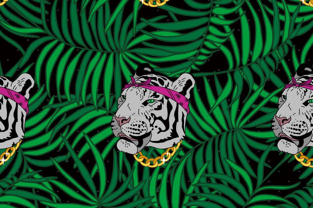 热带丛林动物背景图案