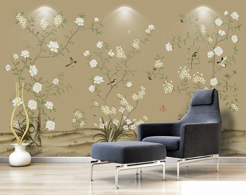 现代简约手绘工笔花鸟中式电视背景墙壁画图片